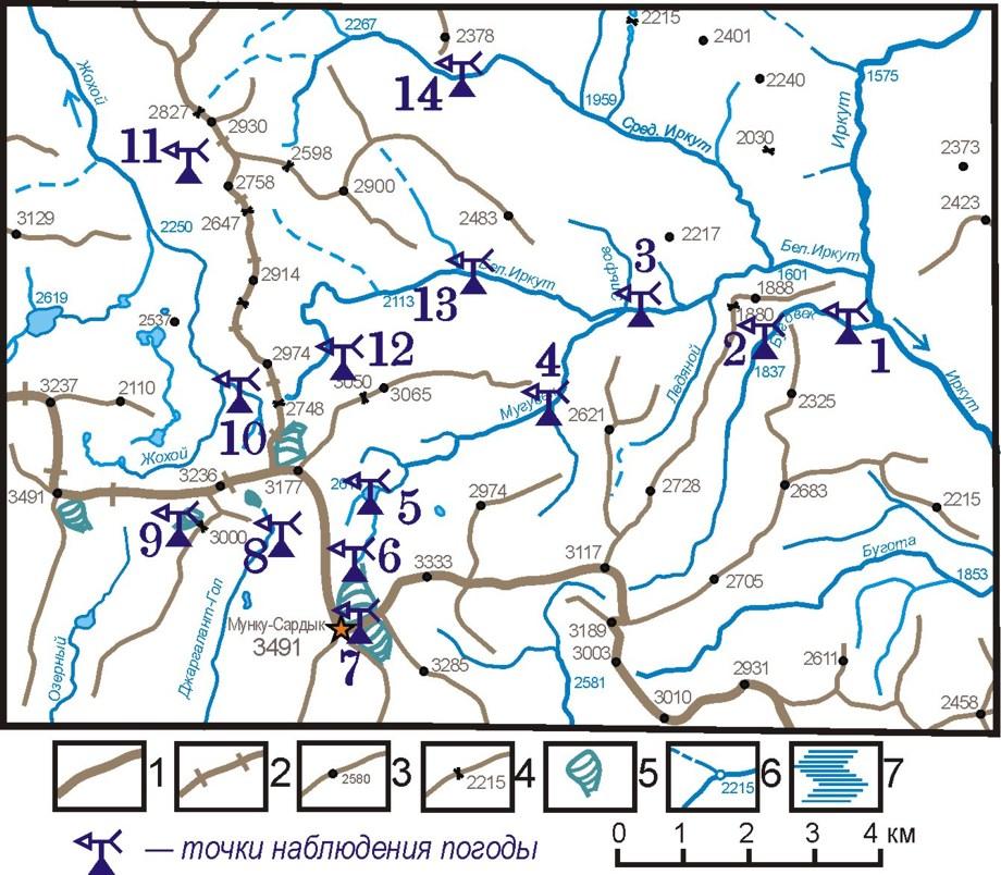 Карта расположения точек наблюдения за погодой