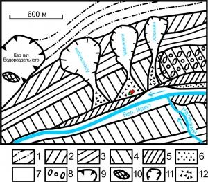Схема строения прав. борта долины Бел. Иркута