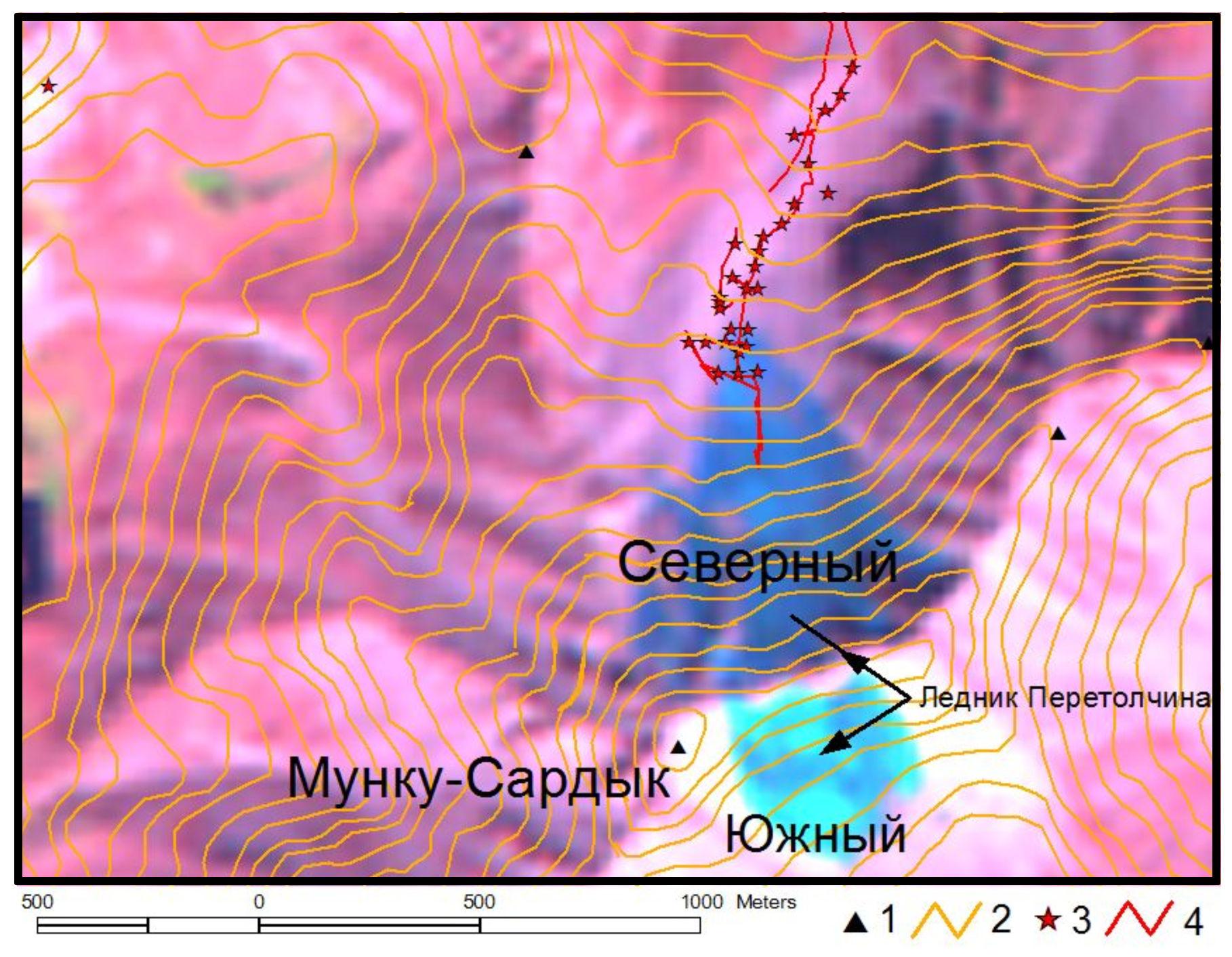Трек горадарного зондирования ледника Перетолчина
