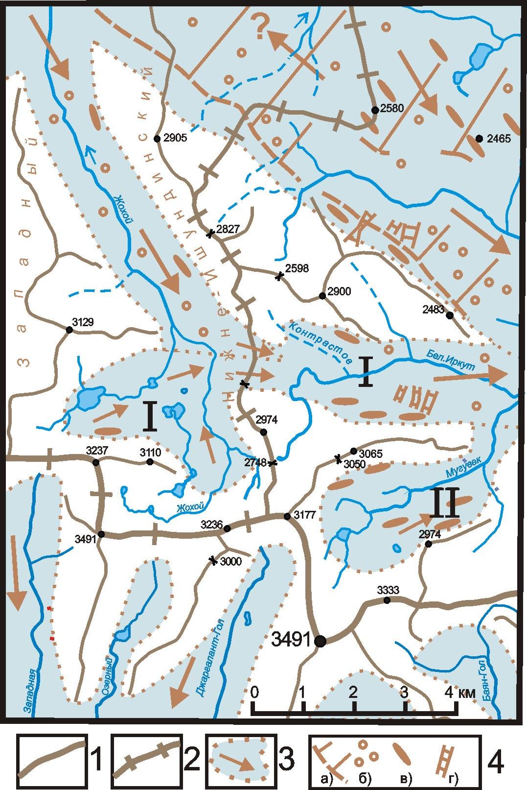 Карта движ Окинск. ледн. по Жохою