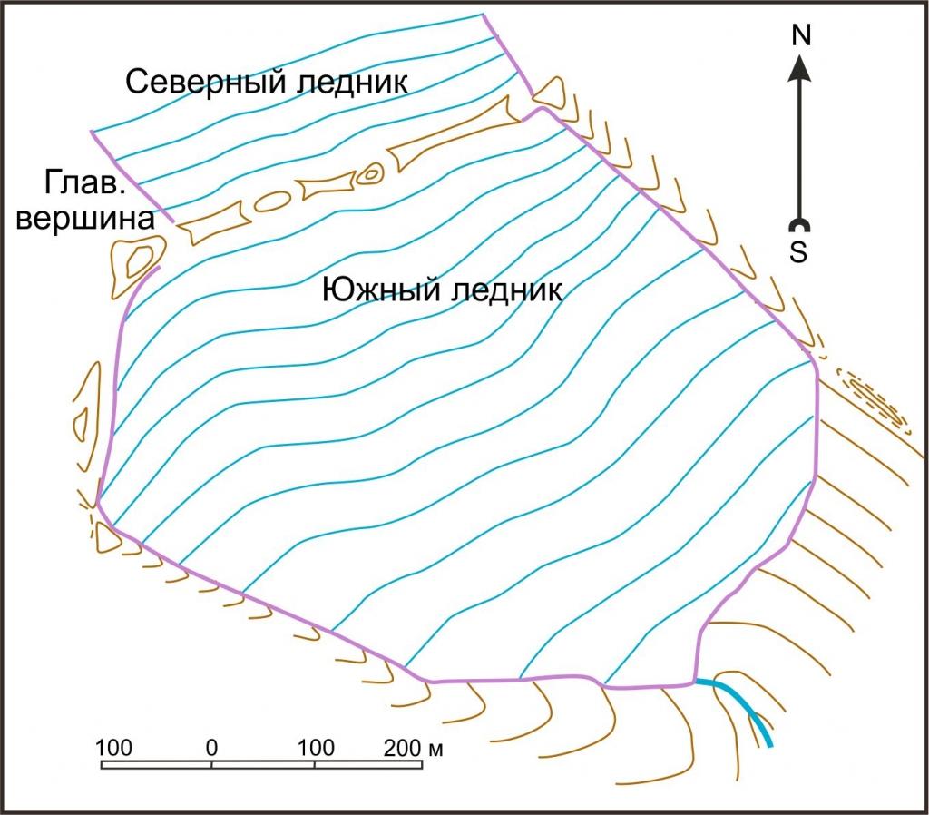 Схема ледника Южного в 1897 г.