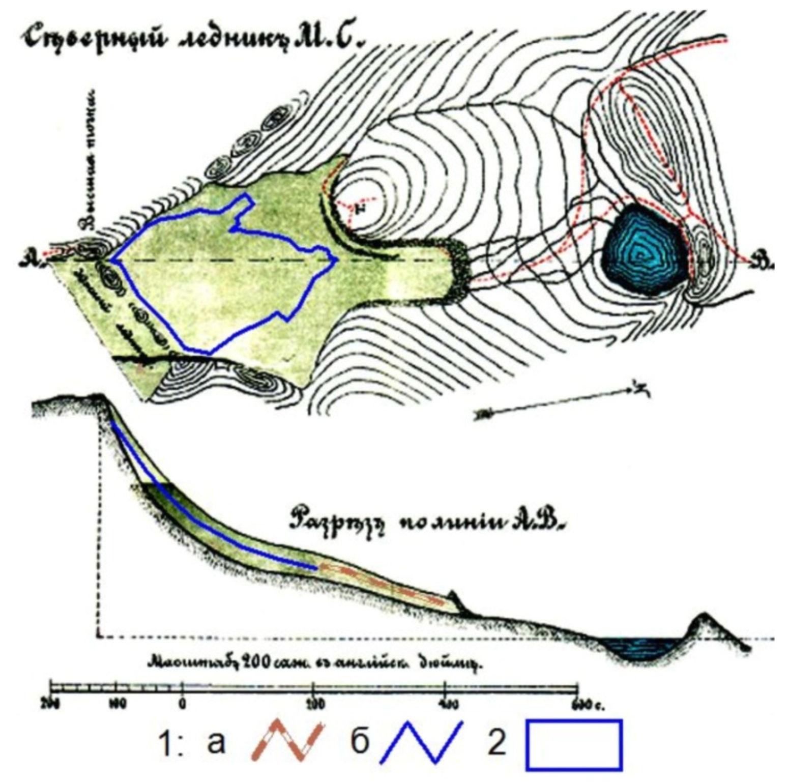 Схемаледн. Перетолчина в 1900 и 2014 гг.