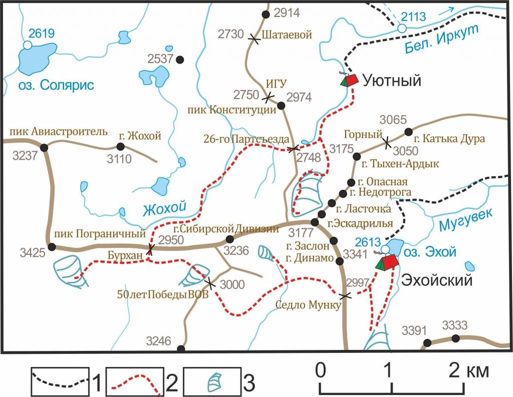 Карта троп на Пограничный